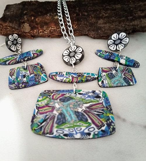 Wonder Kaleidoscope Necklace set ( Rectangular-ish)