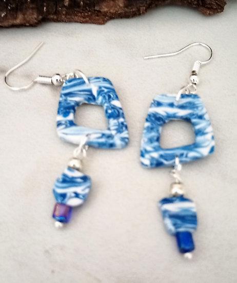Blue Waters Squarish Statement Earrings