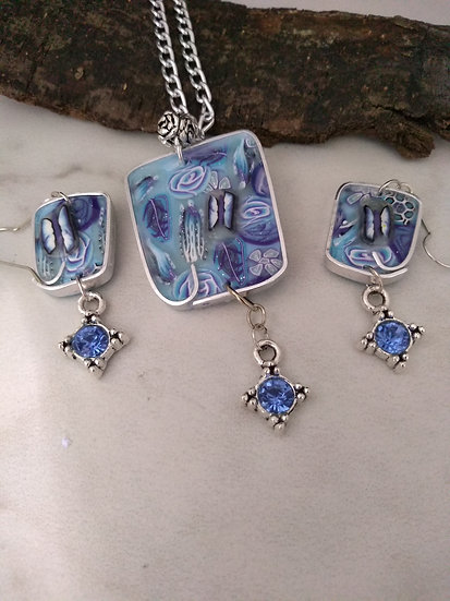 Blue Butterfly and Blue Roses Necklace set