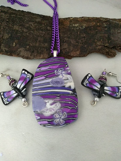 Purple Stripes and Butterflies Necklace set