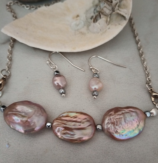 Purple Oval Nucleated Freshwater Pearls Necklace set