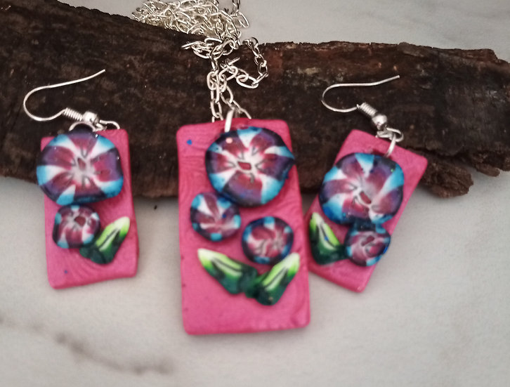 Daisy Made Rectangular Necklace set