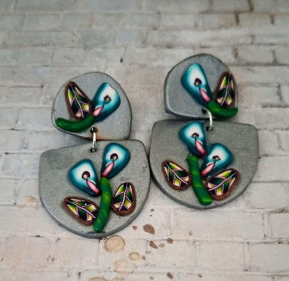 Teal Flowers Earrings