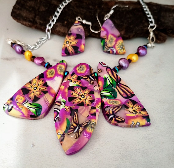 Yellow Butterflies and Magenta Flowers Statement Necklace set
