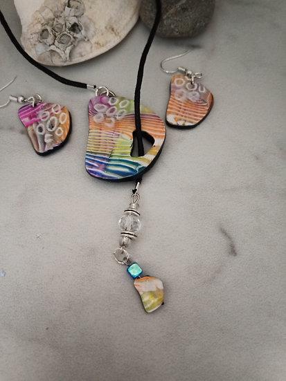 Stone Shaped Rainbow wave Lariat Necklace set