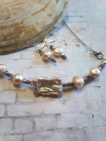 Natural Purple Biwa Freshwater Pearl Necklace set