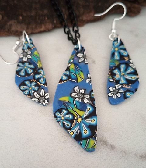 Blue Flower Necklace set #1