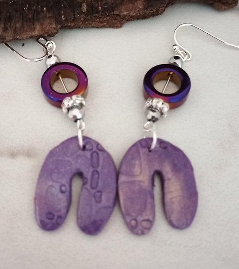 Textured Purple Rainbow Earrings