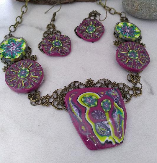 Green Flower Gardens Statement Necklace set