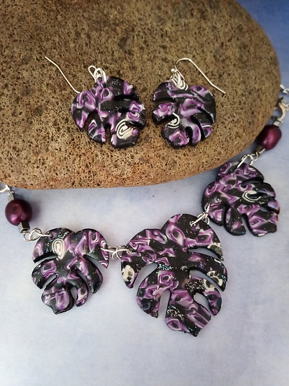 Black and Fuchsia Monstera Leaf Statement Necklace set