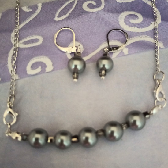 Dark Gray South Sea Freshwater Pearls necklace set