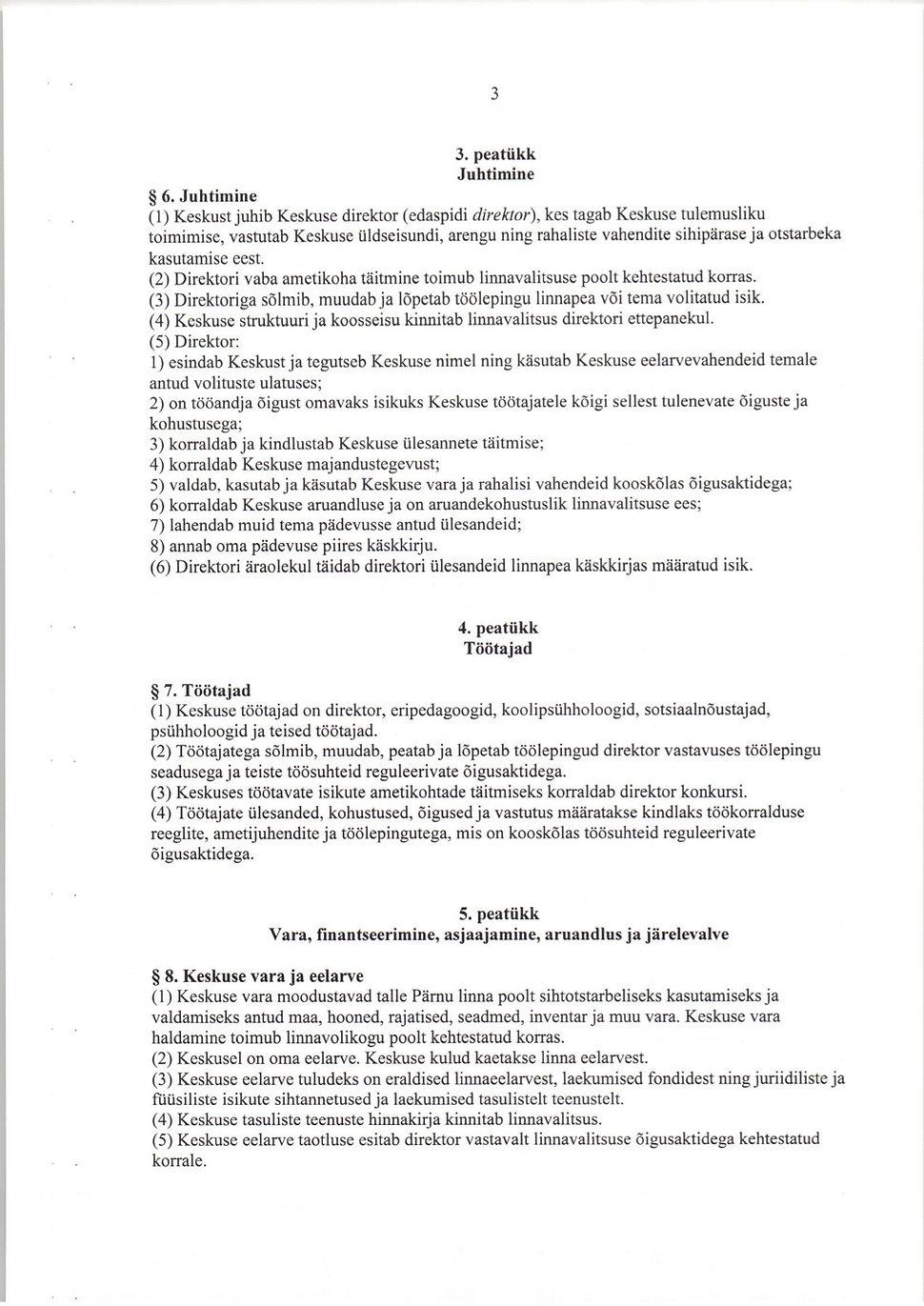3. Pärnu Õppenõustamiskeskuse põhimäärus