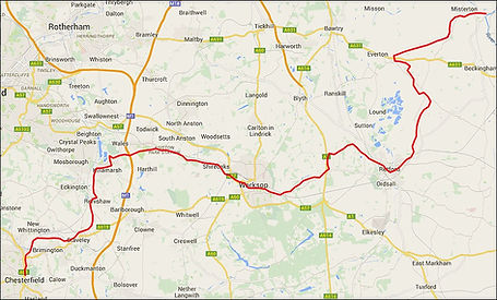 Map showing the Chesterfield Canal route, otherwise known as the Cuckoo Way.