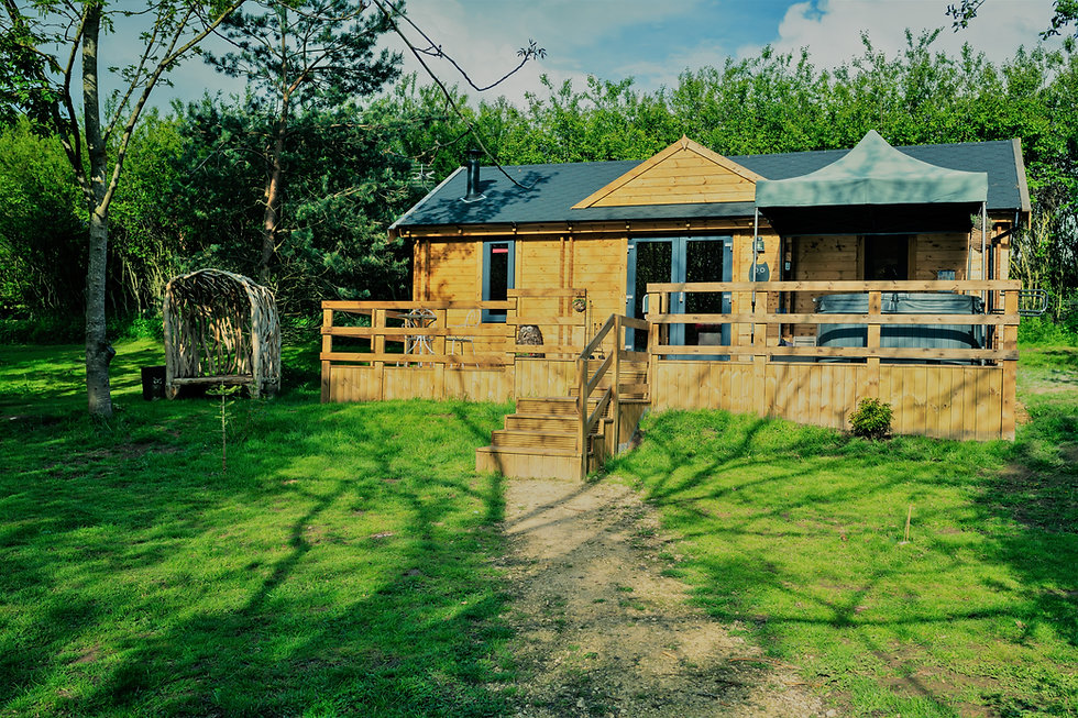 Owl Lodge with large decking and private