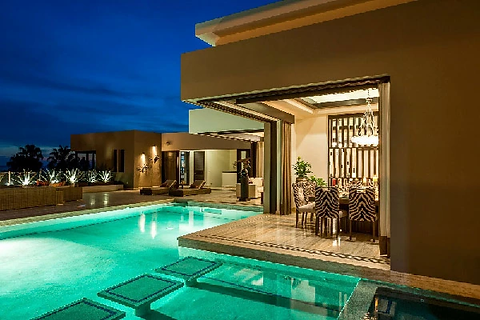 villa renata, naay travel, cabo villas, villas in cabo, cabo luxury villas, cabo experiences, bespoke cabo experiences, pool, pool night view, vacation villa.