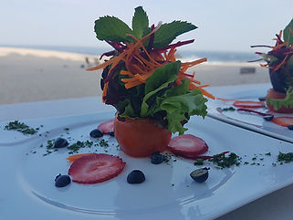 food in plate by the beach, cabo chef service, Naay Travel, Experience designers, Cabo villa rentals, luxury chef service los cabos.