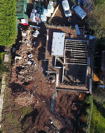 construction, house building, aerial shot