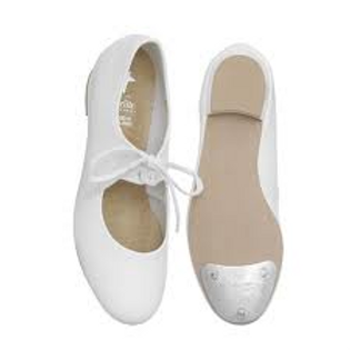 White Low Heeled tap Shoes - Sizes sm 9-13.5