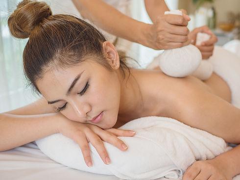 Young Asian woman brunette skin relaxing