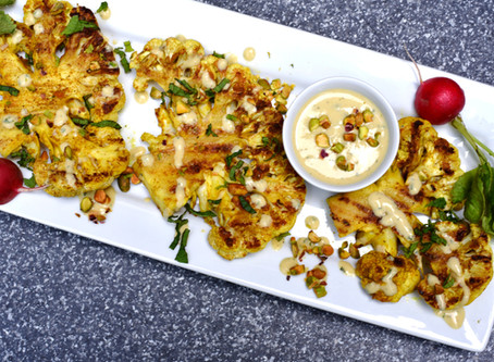 Grilled Cauliflower Steaks with Tahini Dressing