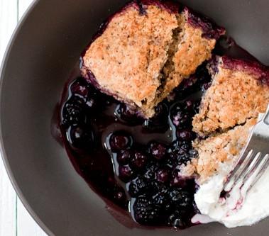 Blackberry Walnut Bread Pudding Cake