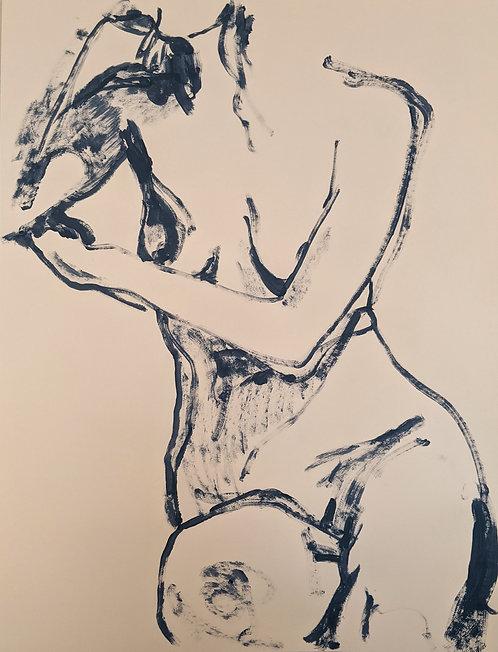 Blue chalk (1) 55x75cm