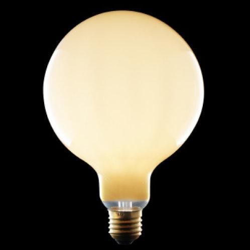 "LED Filament LIGHT BULB 125mm globe. ""Milky"" white glass. Low luminance."