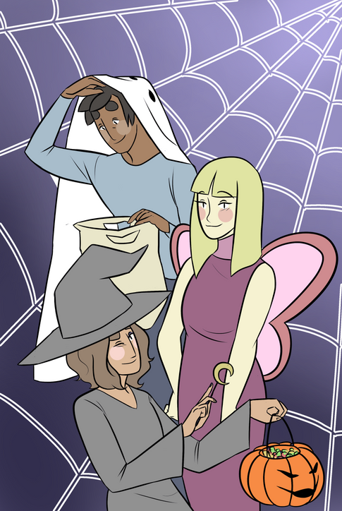 """Webcomic """"Of Fairies And Ghosts"""" Halloween Illustration"""