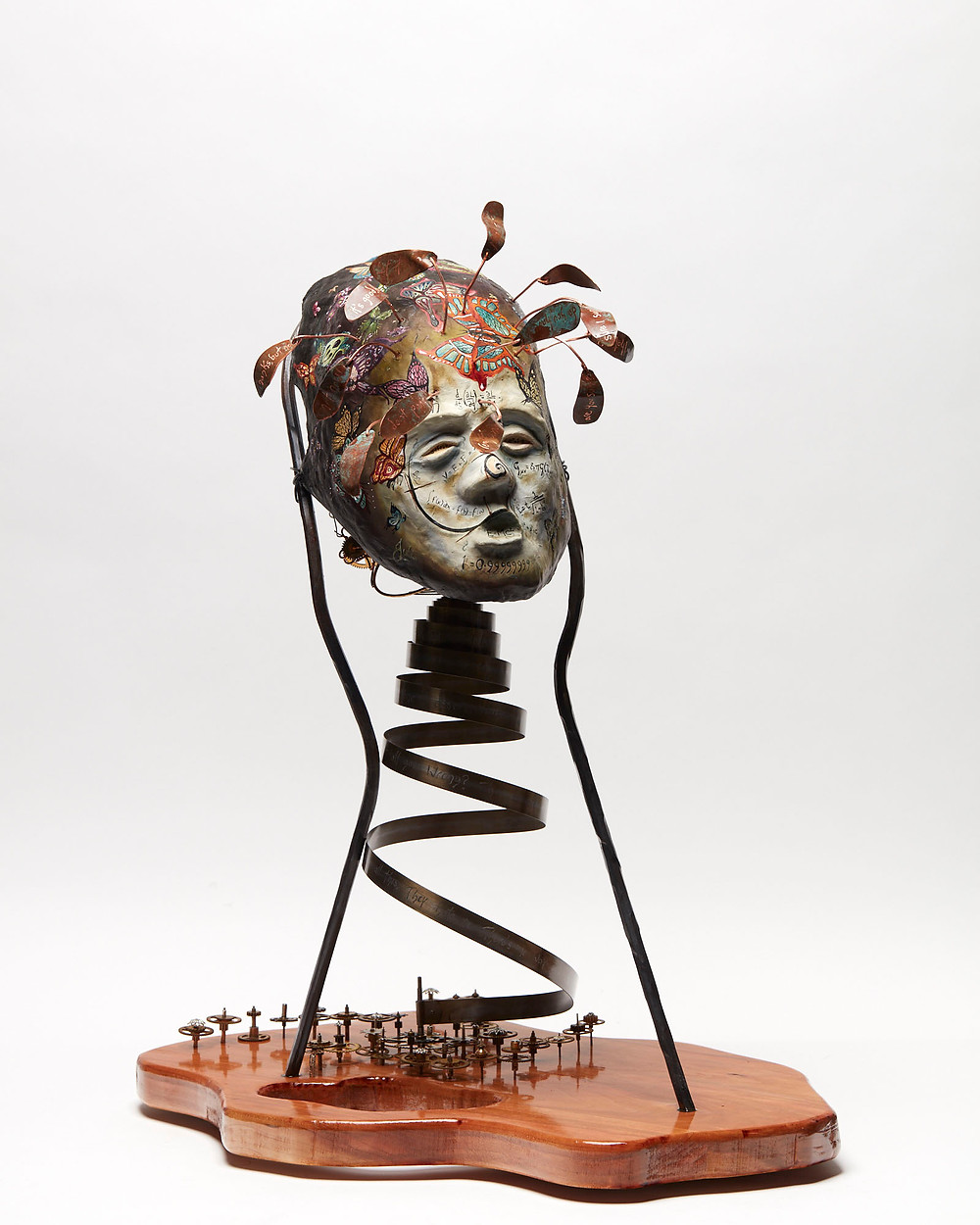 Sculpted oil painted head depicting the mental illness of anxiety