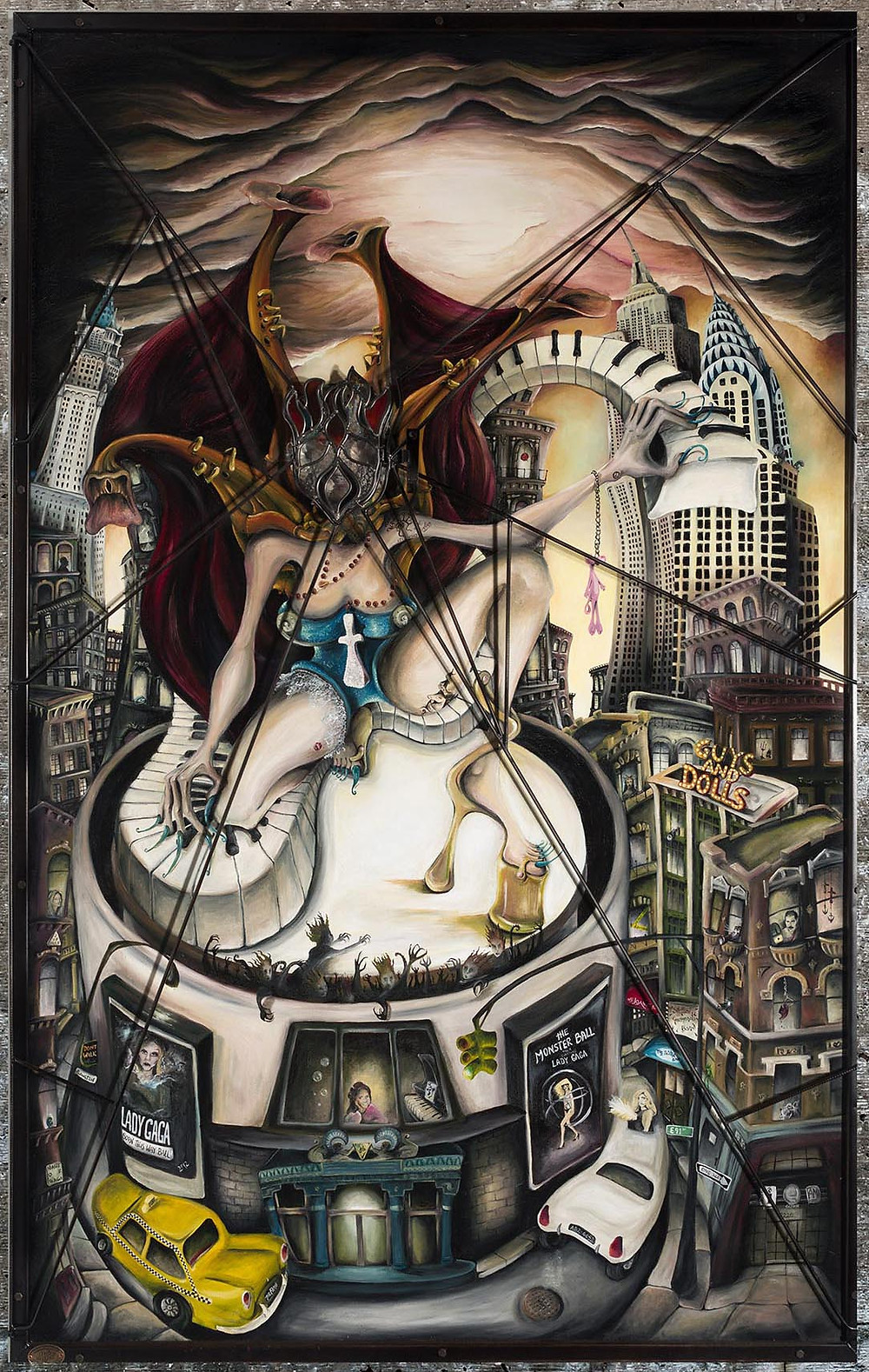 Welsh Artist Julia's Painting depicting the life and music of Lady Gaga, she stands on Madison Square Gardens playing her piano. Mother Monster to her fans, New York is the backdrop to the painting with little references to her music and life throughout.