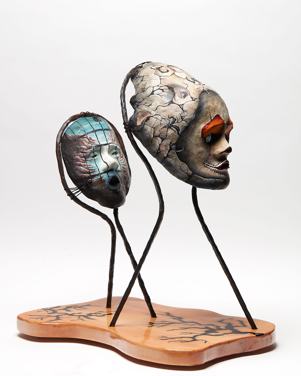 Sculpted oil painted head depicting the mental illness of Depression