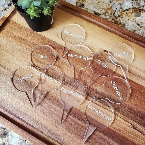 Charcuterie cheese board signs