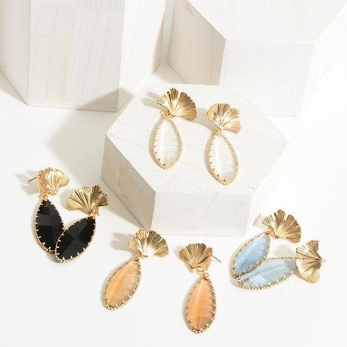 Shell crystal earring