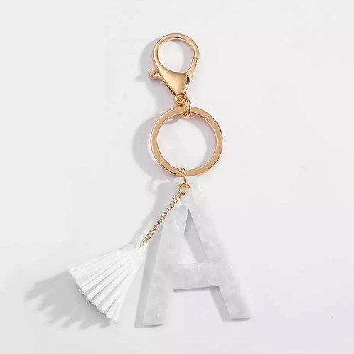 Tasseled initial White Key Chain
