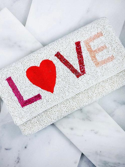 Love Foldover Beaded Clutch