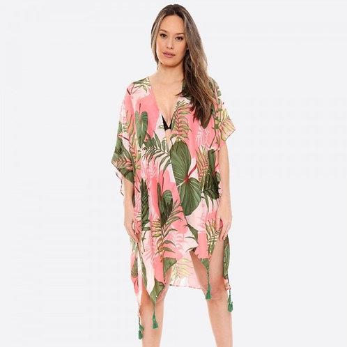 Pink Palm Tassel Kimono
