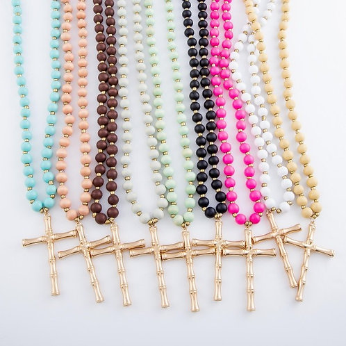 Wood Bead Bamboo Cross Necklace