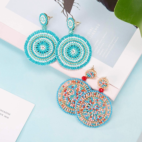 Beaded Round Earrings
