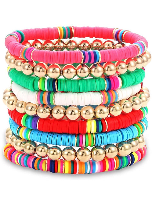 Gold Bead and Rainbow Bracelet Stack