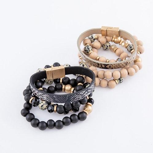 Wood Bead Stack Bracelet