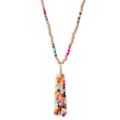 Summer Beaded Tassel Necklace