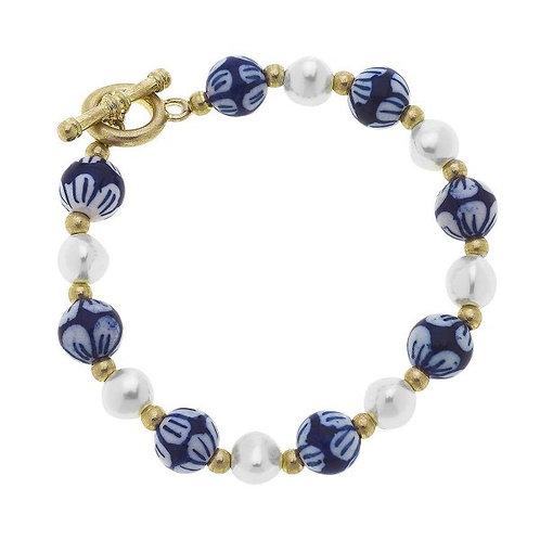 Chinoiserie Beaded Pearl Bracelet