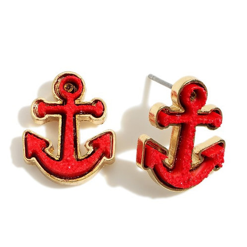 Red Druzy Anchor Earrings
