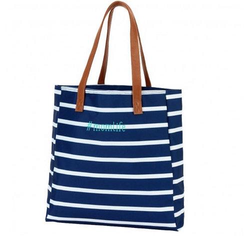 Mom life navy striped tote bag