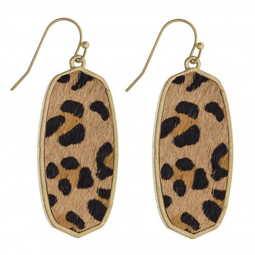 Leopard cow hide earrings