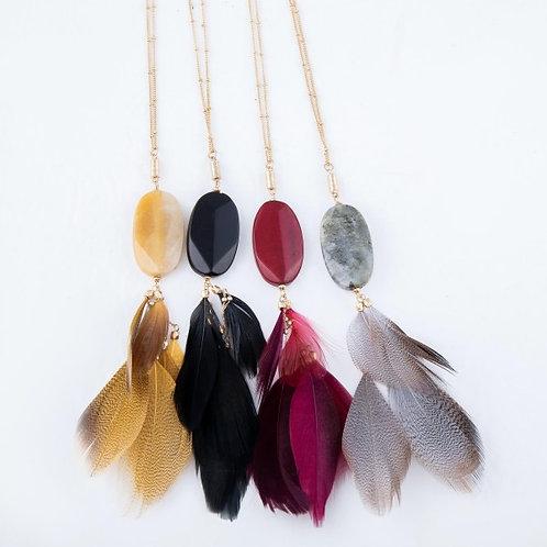 Boho Stone Pendant Necklace