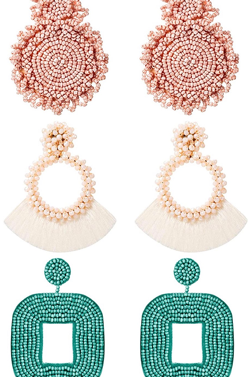 Set of 3 Beaded Earrings