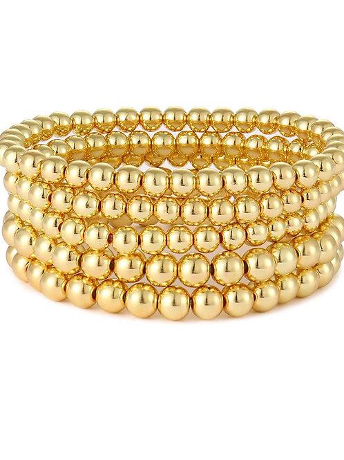 5 piece gold bead stackable bracelet