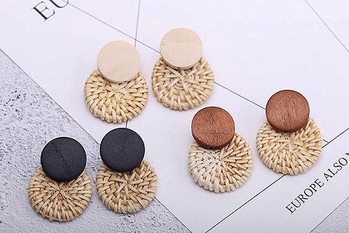 Nina Round Rattan Earrings