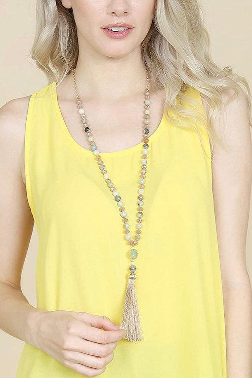 Beaded Druzy Stone Tassel Necklace